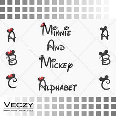 Mickey and minnie mouse font, Walt Disney Font Alphabet, svg files, disney font, walt disney, svg files for cricut, disney Monogram, SF00005 by Veczy on Etsy