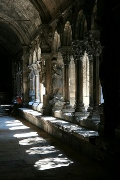 October 24: cloister \ KLOI-ster \, verb; 1. to confine in retirement; seclude. 2. to confine in a monastery or convent. 3. to furnish with a cloister or covered walk. 4. to convert into a monastery or convent. noun: 1. a covered walk, especially in a religious institution, having an open arcade or colonnade usually opening onto a courtyard. 2. a place of religious seclusion, as a monastery or convent. 3. any quiet, secluded place.