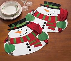 Christmas Xmas Snowman Table Party Decor With Napkin Placemat Mat Cutlery Holder Christmas Placemats, Christmas Sewing, Christmas Table Decorations, Christmas Snowman, Christmas Holidays, Christmas Crafts, Christmas Ornaments, Holiday Decor, Merry Christmas