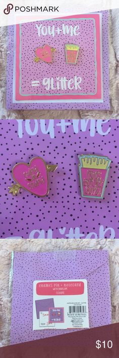"💘Fun Enamel Pin Set w/ Envelope🍟 Super cute enamel pin set. Comes with card and envelope. One pin says ""CUPID IS STUPID"" 💘and the other ""FRIES BEFORE GUYS!""🍟 Card says ""You + Me = Glitter."" Pins come with metal backings. Perfect for your BFF / sister / fellow Leslie Knope to celebrate your love of lady friendship! 😊 Jewelry Brooches"