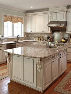 Love the granite with antique white cabinets - maybe a double bevel on ends?