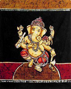 Dancing Ganesha (Batik Painting on Cotton Cloth - Unframed))