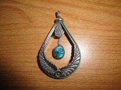 Vintage Native American Large Turquoise Leaf Pendant by BathoryZ