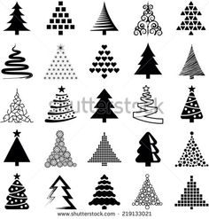 fir tree black outline | Tree outline Stock Photos, Illustrations, and Vector Art