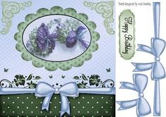 Blue blooms with big bow and ornate corners 8x8 on Craftsuprint - Add To Basket!