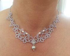 Lace Tatted Necklace with Sterling and glass by SnappyTatter