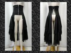 【楽天市場】ゴスロリ ゴスパンク V系 オーバースカート ティアード コルセット スピンドル 黒:PARROT