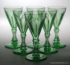 Six Victorian Green Uranium Wine Glasses Vintage Tableware, Crystal Stemware, Gibson Girl, Grand Hotel, Georgian, 19th Century, Glass Vase, Dish, Victorian