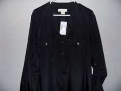 "NWT Michael Kors Plus size 3X Black orig. price $110! 56"" Bust womens shirt #MichaelKors #Blouse #Casual"