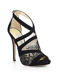 Jimmy Choo 'Vantage' suede and lace platform sandals.  So hot -- probably in my Top Ten favorite shoes ever!