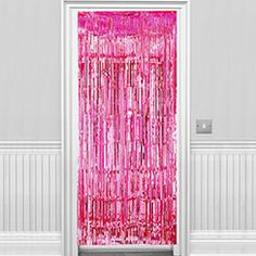 Hot Pink Metallic Fringed Door Curtain - 2.4m
