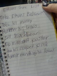 little girl's to-do list if her brother ever goes missing