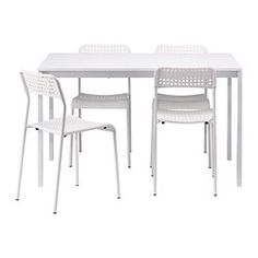 IKEA - MELLTORP / ADDE, Table and 4 chairs, The melamine table top is moisture resistant, stain resistant and easy to keep clean.Seats 4.You can stack the chairs, so they take less space when you're not using them.