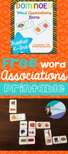 word associations dominoes game to target vocabulary and language in speech therapy