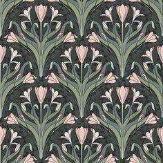 Fabric by the Yard Art Nouveau Crocuses