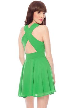 Twirl Around Cross Back Dress in Green $32 at www.tobi.com  Probably getting this