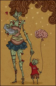 Zombie girl in a zombie world