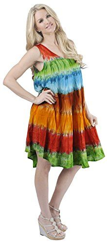 La Leela Rayon Hand Tie Dye Embroidered Designer Casual Short Beach Dress Red. Do YOU want Dress in other colors Like Red | Pink | Orange | Violet | Purple | Yellow | Green | Turquoise | Blue | Teal | Black | Grey | White | Maroon | Brown | Mustard | Navy ,Please click on BRAND NAME LA LEELA above TITLE OR Search for ?LA LEELA? in Search Bar of Amazon. US Size : From Regular 14 (L) TO Plus Size 24W (3X) ➤ UK SIZE : FROM REGULAR 14 (M) TO 28 (XXXL) ➤ BUST : 52 Inches [ 132 cms ]➤ Length…