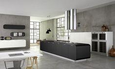 doimo cucine küche mit kücheninsel matt schwarz abzugshaube