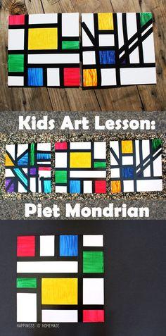 Kids Abstract Art Lesson - Piet Mondrian