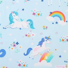 1 M Happy Little licornes Rainbows Rose Robert Kaufman par mètre Nuages Ciel Kids