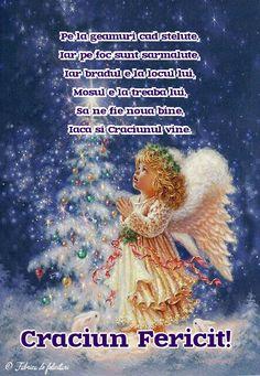 Pe la geamuri cad steluțe,  Iar pe foc sunt sărmăluțe,  Iar bradul e la locul lui,  Moșul e la treaba lui,  Să ne fie nouă bine,  Iacă și Crăciunul vine. Christmas 2018 Ideas, Merry Christmas Images, Holidays And Events, Happy Holidays, Coral, Santa, Anul Nou, Bakeries, Angel