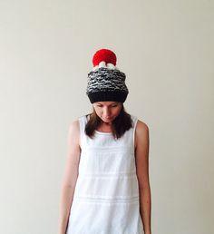 Chunky Knit Hat / Red Pom Pom Black Hat / Womens Hat / Slouchy Beanie Hat / Colourful Beanie