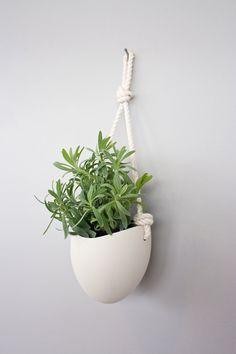 porcelain and cotton rope hanging planter by farrahsit on Etsy