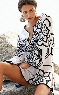 White/Black Tunic or bathing suit cover