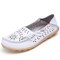 89bc2b111 Big Size Leather Hollow Out Floral Breathable Soft Comfy Lace Up Flat Shoes