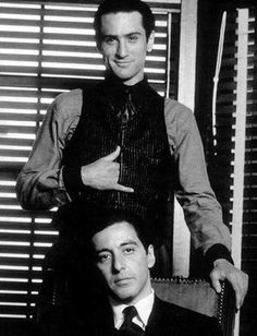 Robert DeNiro and Al Pacino together on the set of The Godfather: Part II, 1974