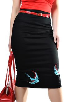 Rockabilly Retro Swallow Embroidered Pencil Skirt