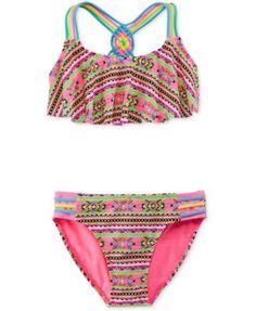 8d410d46395b0 Breaking Waves Girls' 2-Piece Inka Striped Swimsuit Kids - Swimwear - Macy's