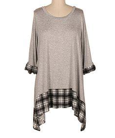 Loving this Heather Gray Plaid-Trim Sidetail Tunic - Plus on #zulily! #zulilyfinds