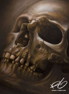 """""""Skull"""" Airbrush painting. Acrylics on illustration board. Originalsize: 50x70 cm (approx. 20x27,5 inches.) © 2013 Roger Thomasson"""