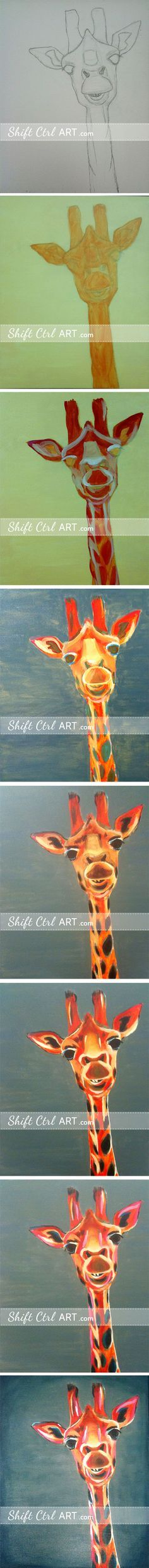 Giraffe painted with acrylic paint on canvas