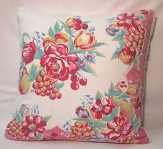 Pillow  vintage Tablecloth CHERRIES Tulips Pink by Bungalow329, $75.00