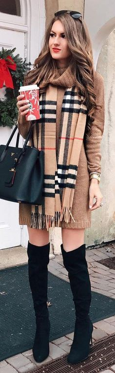 #winter #fashion / Pattern Fringe Scarf + Camel Knit Dress + Black OTK Boots + Black Leather Tote