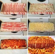 Chicken in bacon Smoked Cheese, Grated Cheese, Diced Chicken, Chicken Recipes, Bacon, Easy Meals, Pork, Food And Drink, Favorite Recipes