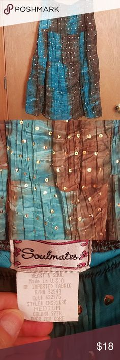 Soul mates skirt sequins blue brown M Soul mates heart & soul, Elastic waist measures about 15 inches across and is about 31 inches long.  Lined,  polyester, machine wash and dry. Turquoise blue and brown Soulmates Skirts Maxi