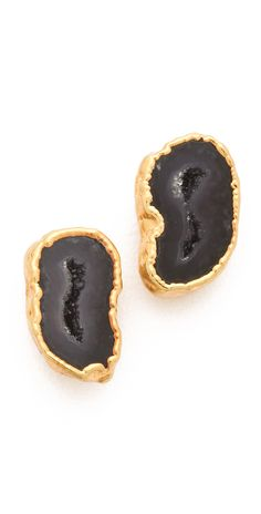 The natural beauty of polished agate is accented by 14k gold plating on these Heather Hawkins post earrings. Surgical steel post. 14k gold plate. Made in the USA. NOTE: These earrings are made from natural stones. Shading, size, and shape may vary. MEASUREMENTS Length: 0.5in / 1.5cm