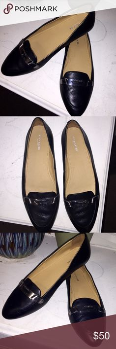 "New! Coach Patent Leather Flats Brand new! Coach Black Patent Leather Women's Premium Designer Shoes with Silver Accessory across the top, says ""Coach"" engraved into the metal. In size 8. They seem like they would be very comfortable- inside the shoes is a plush foot padding. Really cute flats!! 😍 Coach Shoes Flats & Loafers"