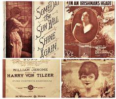 Vintage 1920s Sheet Music  Four Digital Downloads - JPG files of Enhanced Photos of Vintage 1920s Era Irish and Follies Sheet Music -