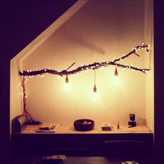 DIY Lamp: Branch with Chain of Lights | More awesome diy videos here → http://gwyl.io/