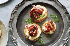 With gorgeous jamon, sherry-soaked figs and rich mascarpone, you can create gourmet nibbles without the fuss. Pikelet Recipe, Yummy Snacks, Yummy Food, Savory Snacks, Healthy Food, Fig Recipes, Party Recipes, Quick Recipes, Great Appetizers