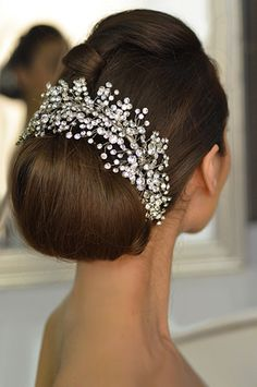 Wedding headband with rhinestone sprig design by Elena Designs E765. Blinged out wedding day look. www.diamonds.pro