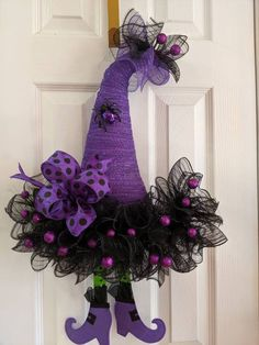 Best 12 Excited to share this item from my shop: Halloween Witch Hat Wreath, Halloween Decor, Front Door Wreath and Decor, Witch – SkillOfKing. Halloween Door Wreaths, Halloween Deco Mesh, Halloween Door Decorations, Holiday Wreaths, Fall Halloween, Halloween Crafts, Halloween Home Decor, Halloween Stuff, Vintage Halloween