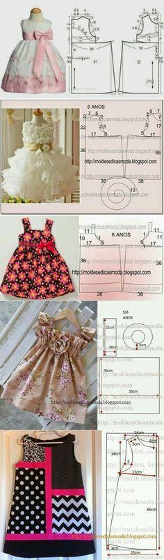 Little girl dress patterns Baby Dress Patterns, Kids Patterns, Baby Dress Pattern Free, Coat Patterns, Blouse Patterns, Print Patterns, Free Pattern, Sewing Patterns, Little Dresses