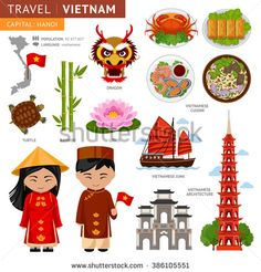 Travel to Vietnam. Set of traditional cultural symbols. A collection of colorful illustrations for the guidebook. Vietnamese peoples in national dress. Man and woman. Vietnamese attractions.