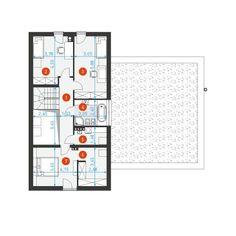 DOM.PL™ - Projekt domu DZW NOWOCZESNY 2 CE - DOM DW1-60 - gotowy koszt budowy Bungalow House Design, Facade House, Home Projects, House Plans, New Homes, Minimalist, Layout, Rustic, How To Plan